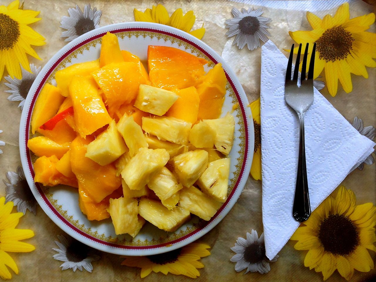 Enjoy bountiful fruit breakfasts, just like the one above.     2 mangoes and pineapple never tasted so decadent.