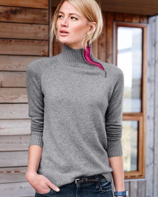 I love the classic is a twist - the zipper at the neck with the pop of color.