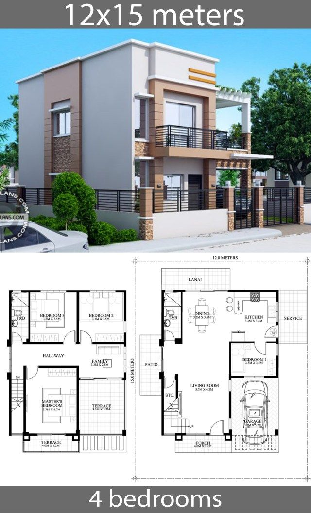 House Plans 12x15m With 4 Bedrooms Home Ideassearch Two Story House Design House Construction Plan Bedroom House Plans