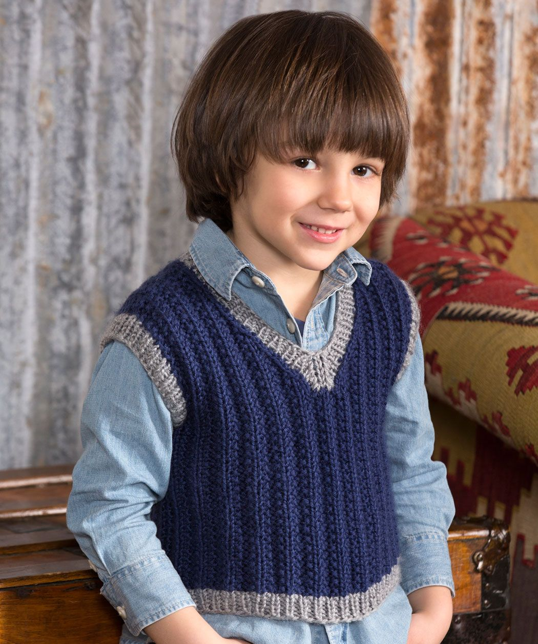 Knitting Jacket For Boy : Boy s seeded rib vest knit pattern children clothing