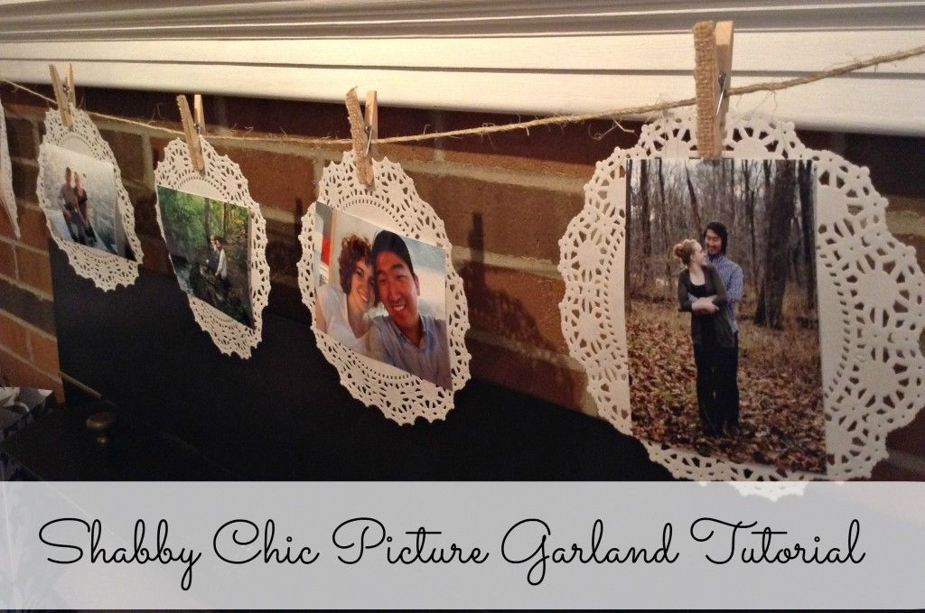 Simple bridal shower decoration - Shabby Chic Picture Garland Tutorial