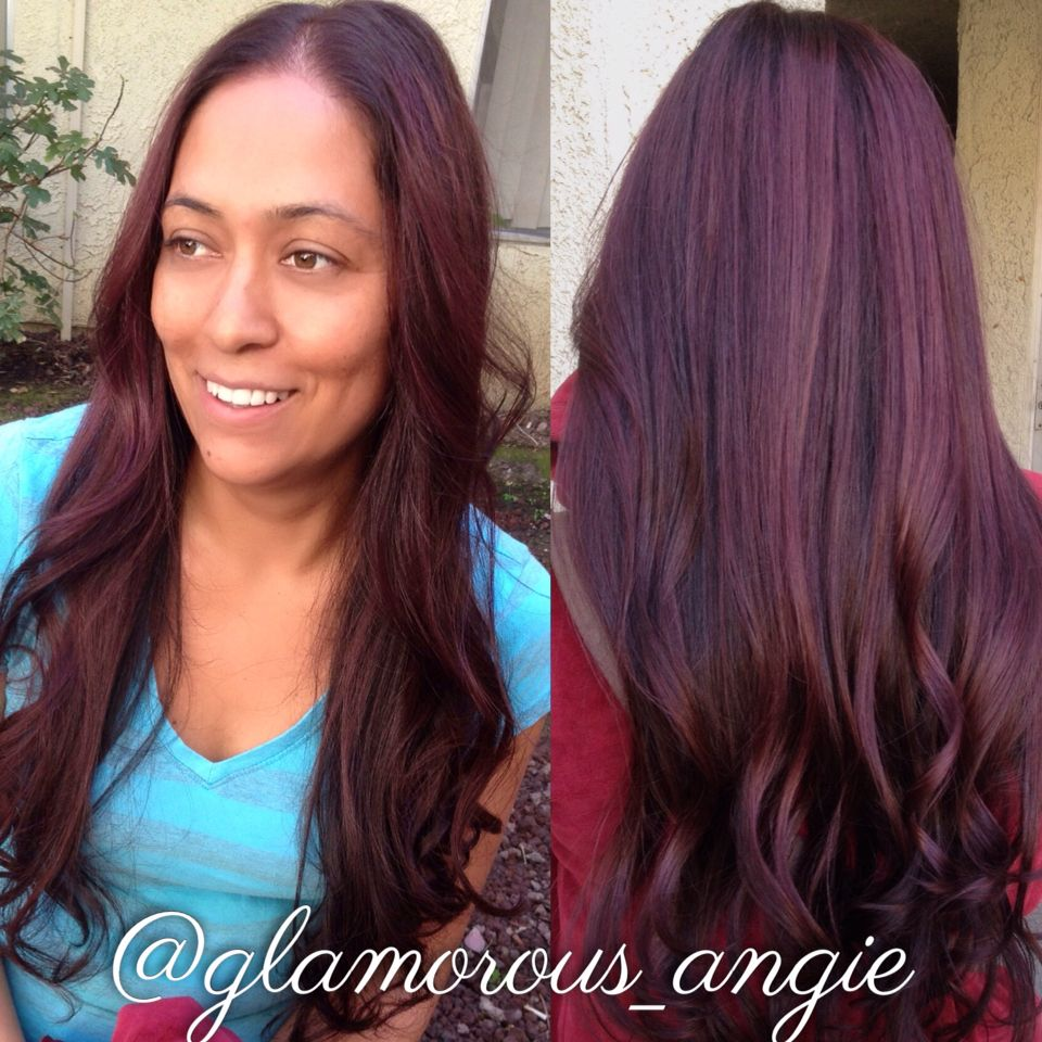 5rv Wella Burgundy Hair Long Hair Glamorous Angie