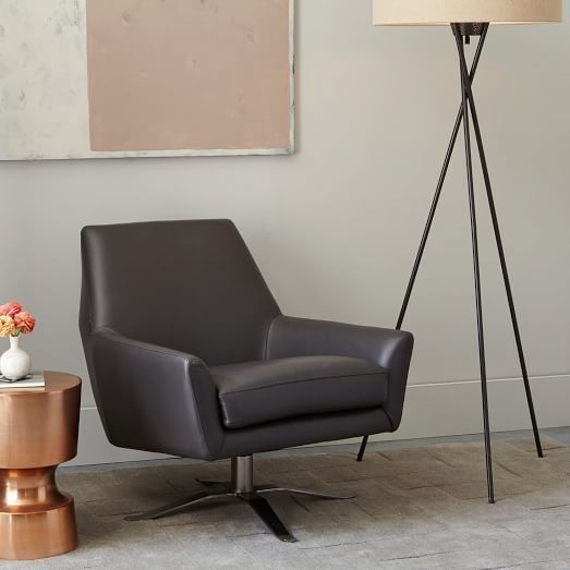 Lucas Leather Swivel Base Chair&#160 | Living rooms, Room and Spaces