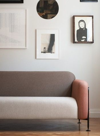 how stunning is this rounded 70s inspired sofa tri tone sofa with rh pinterest com