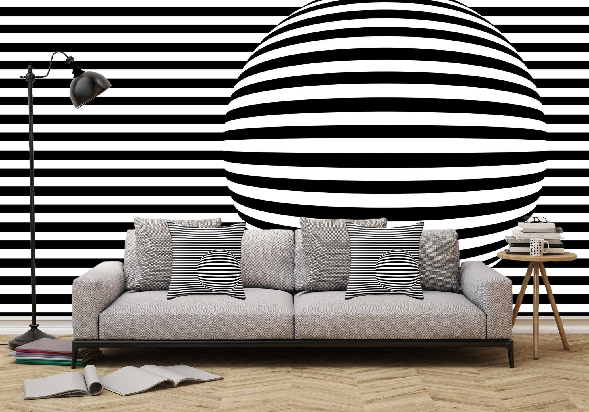 Removable Wall Mural Black And White Stripes And Sphere Adhesive Wallpaper Removable Wallpaper Wall Sticker Full Size Wall Mural Wall Wallpaper Removable Wall Murals Wall Murals