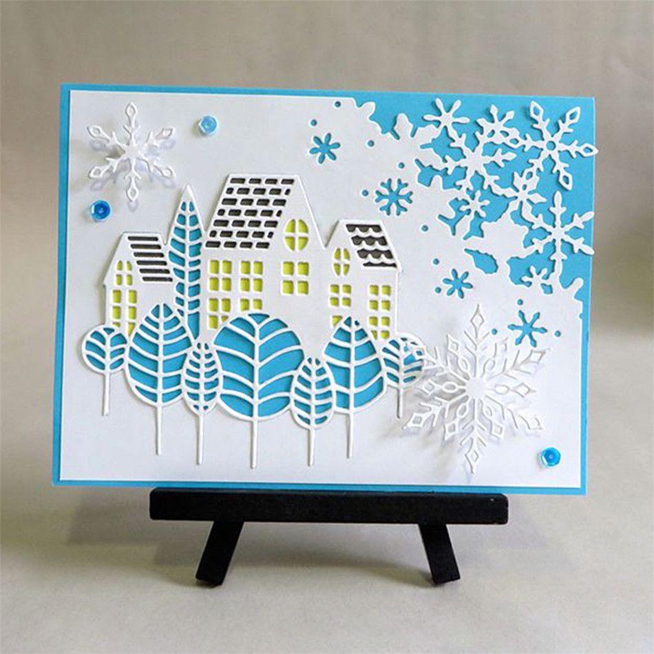 Cutting Dies Metal House Tree Forest Village DIY Scrapbooking Card Craft Stencil