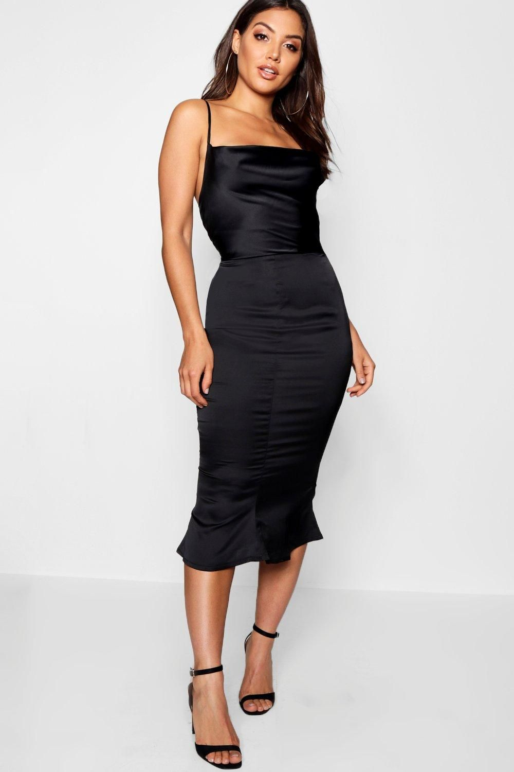 872e12b3e43e Click here to find out about the Satin Cowl Neck Lace Up Fish Tail Midi  Dress from Boohoo, part of our latest Dresses collection ready to shop  online today!