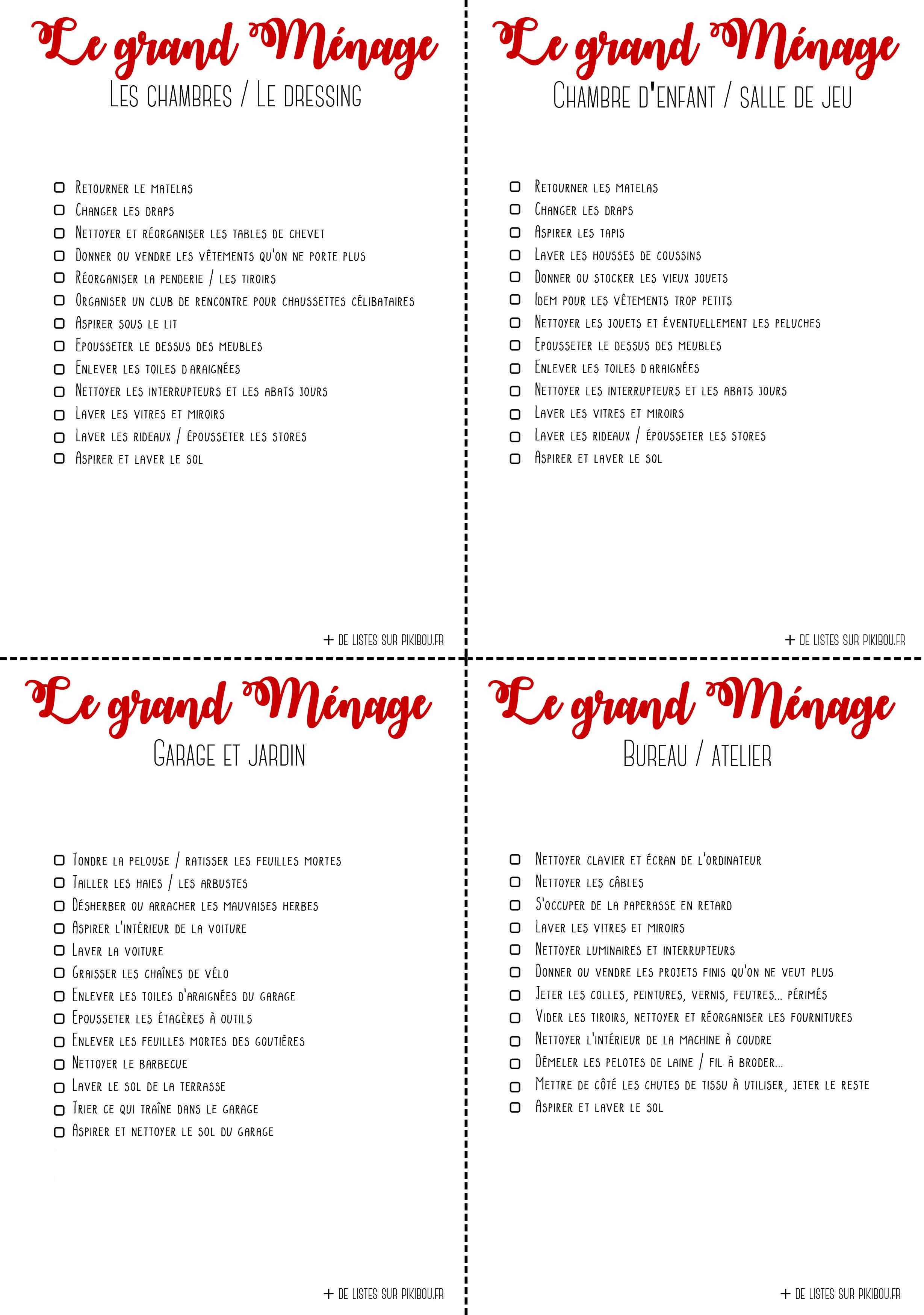 checklists de menage a imprimer