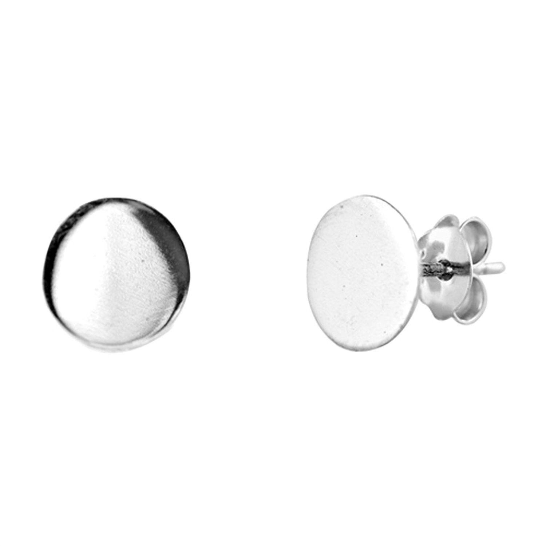 925 Sterling Silver Circle Plain Ear Studs
