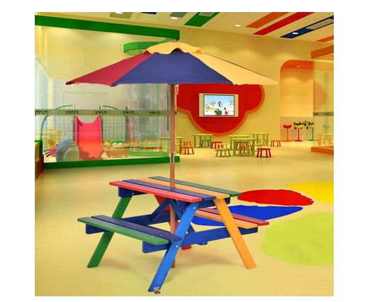 Kids Wooden Picnic Table Bench Parasol Collapsible Colorful Rounded - Picnic table parasol