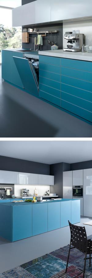 blaue k che mit grauer wandfarbe ideen bilder von leicht ideen f r bunte k chen pinterest. Black Bedroom Furniture Sets. Home Design Ideas