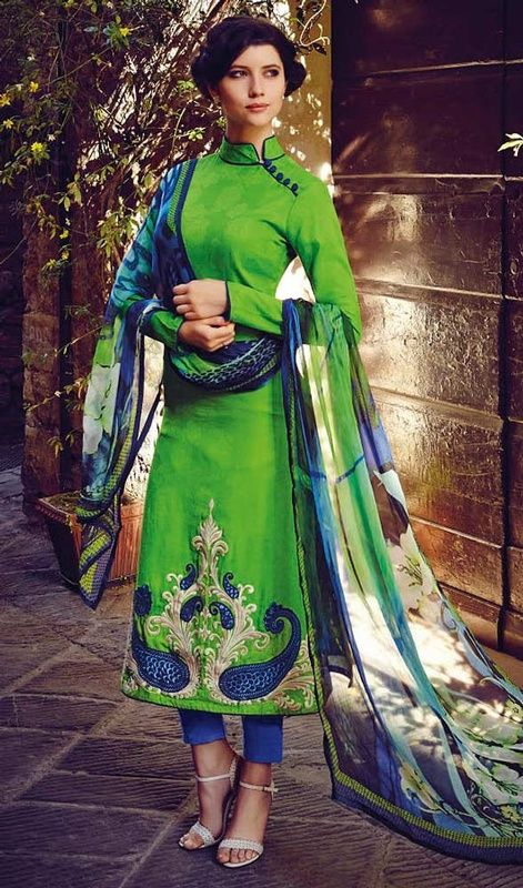 Remarkable craftsmanship of embellishments exhibited in this green color embroidered georgette shalwar suit. This attire is showing some really mesmerizing and imaginative patterns embroidered with lace and resham work. #NewPeacockShadesOfSraightCutSuit