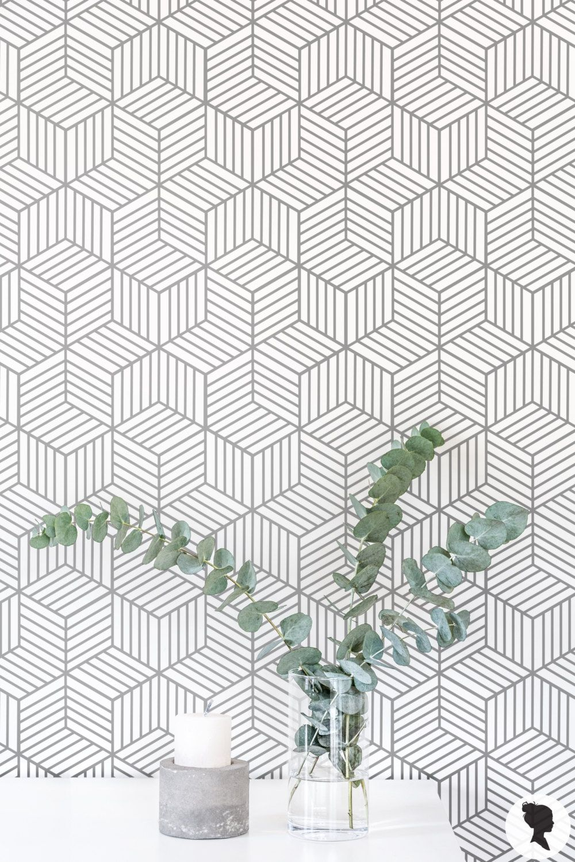 Removable Wallpaper / Cube Pattern Geometric Wallpaper