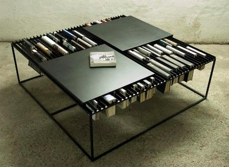 Coffee Table + Bookshelf. The Slats That The Books Hang From Can Also Serve  As