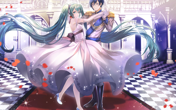 Download wallpapers Kaito, Hatsune Miku, manga, dance