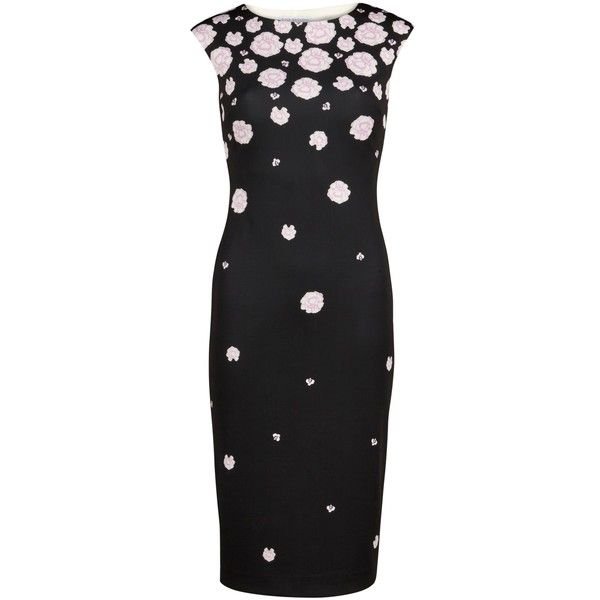 Gina Bacconi Scattered Carnation Print Dress, Black ($215) ❤ liked on Polyvore featuring dresses, floral midi dress, floral pencil dress, print maxi dress, long-sleeve mini dress and floral print dress