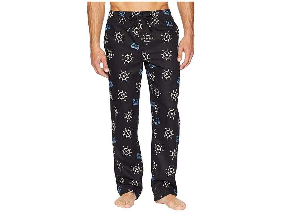 Life is Good Classic Sleep Pants (Night Black) Men's Pajama. Prepare for some awesome shut-eye or just lounge the day away in this comfy sleep pant! Relaxed Fit gently drapes off the body for ultimate comfort. Breathable cotton is brushed and garment washed for a lived-in softness. Elastic waist with exterior drawstring for a personalized fit. On-seam hand pockets. Open bottom hems. 100% cotton. Machine wash  tumble dry. Impor
