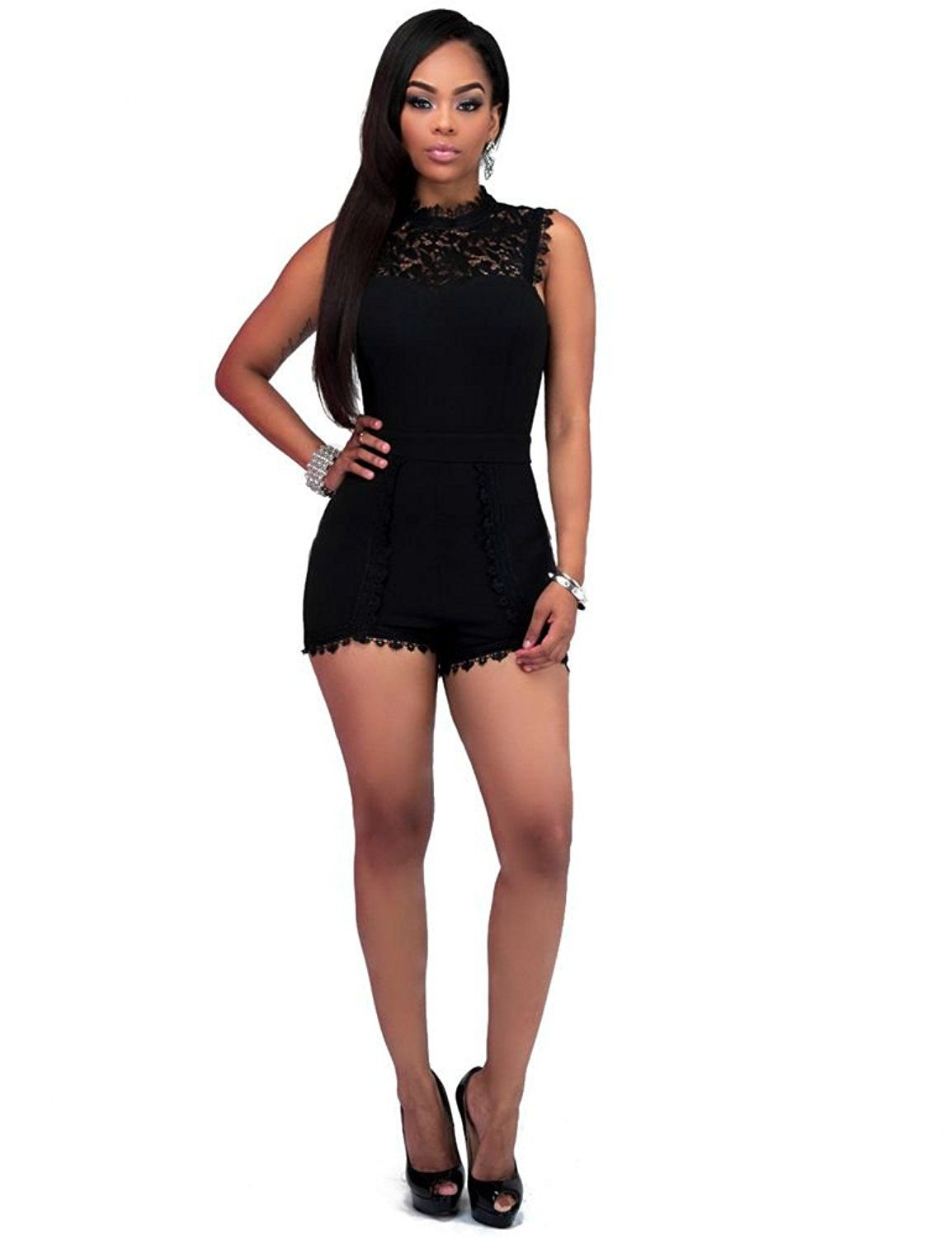 687ecac2ee9f Women Plus Size Crewneck Sleeveless Lace Clubwear Bodycon Short Jumpsuit  Romper    For more information