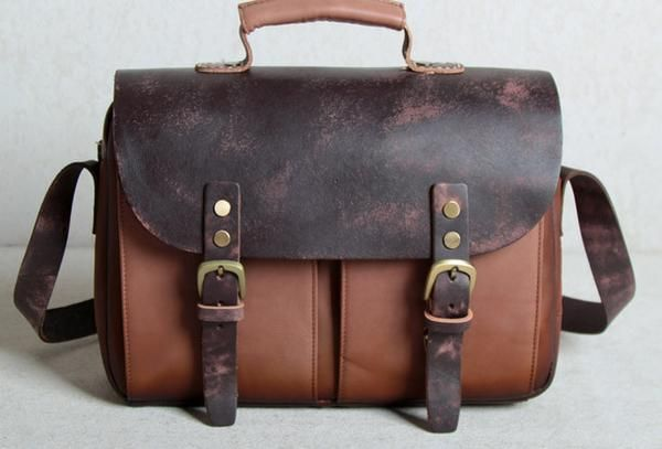 Handmade leather men Briefcase messenger Coffee Brown shoulder bag vintage  bag for him 77a52f3a67c5e
