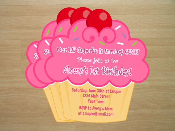 Cupcake Birthday Invitation Digital File Cupcake Birthday - Handmade birthday invitation card ideas