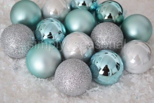 large set 40 dusky teal duck egg blue amp silver xmas christmas tree baubles 40mm more - Duck Egg Blue Christmas Decorations