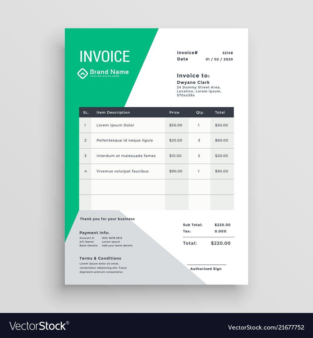 Creative Green Invoice Template Design Vector 21677752 Jpg 1 000 1 080 Pixels Desain