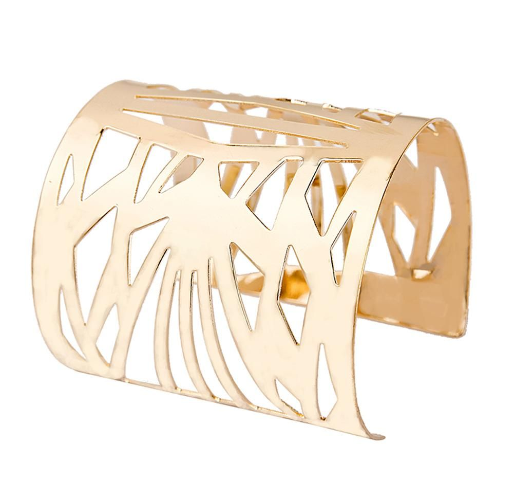 Luxury womenus punk style big wide gold color hollow cuff bangle