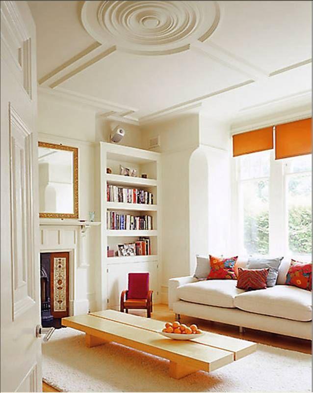 MODERN LONDON LIVING SPACES   Ceiling medallions, Orange curtains ...