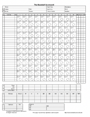 baseball score sheet fill online printable fillable blank