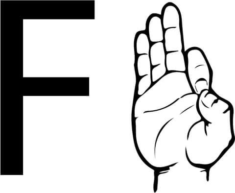 ASL Sign Language Letter F coloring page from ASL Alphabet