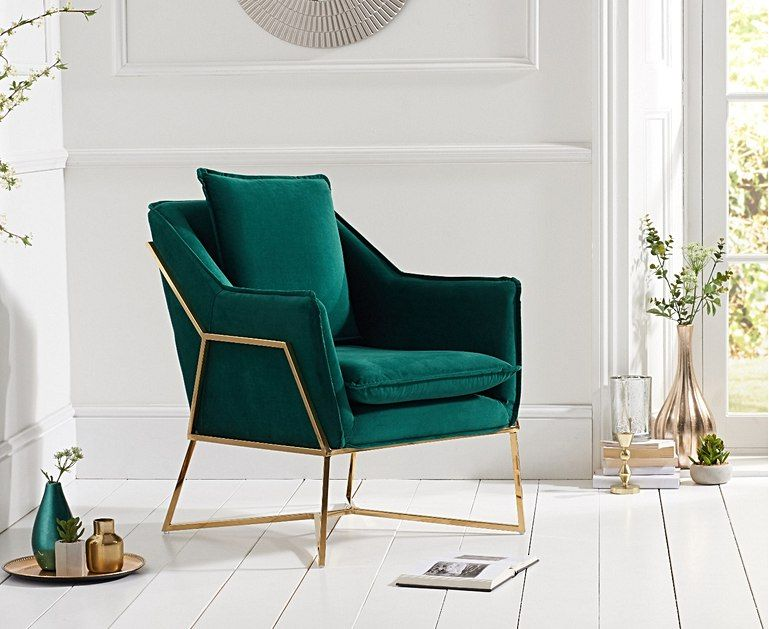 London Green Velvet Accent Chair in 2019 | Accent chairs for ...