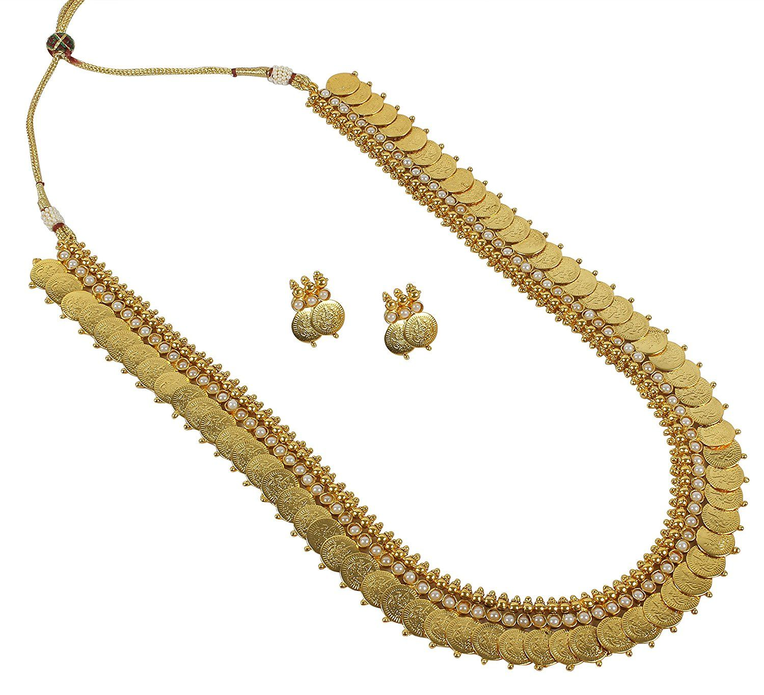 Indian bollywood ethnic white pearl made polki necklace set for