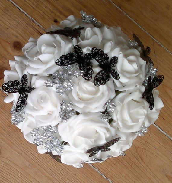 White rose pearl cluster and black lace by FoxgloveFlowers on Etsy, £30.00