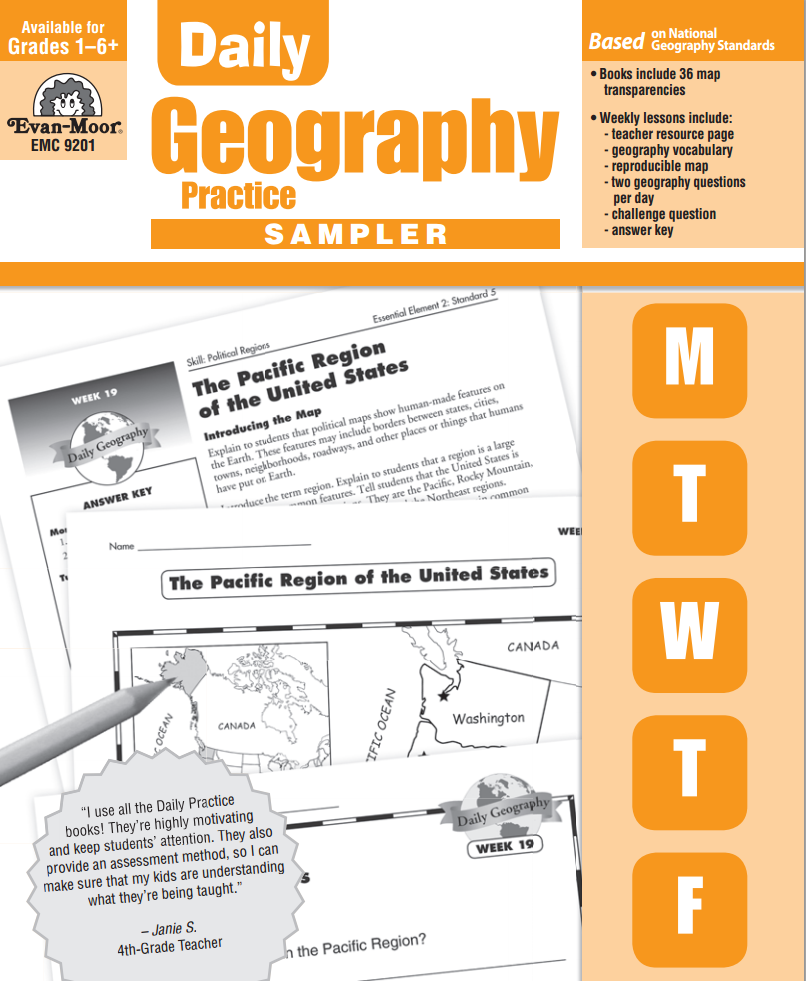 Free Sampler In Daily Geography Practice Map Lessons - Us map skills grade 5 instructional fair answers