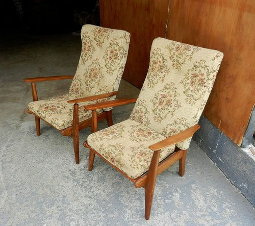 Pair of Retro Easy Chairs, Armchairs - Solid Wood & Upholstery - Vintage   eBay