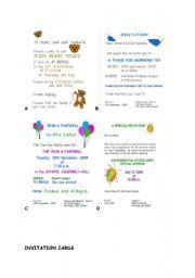 English worksheet invitation cards making invitations pinterest english worksheet invitation cards stopboris Images
