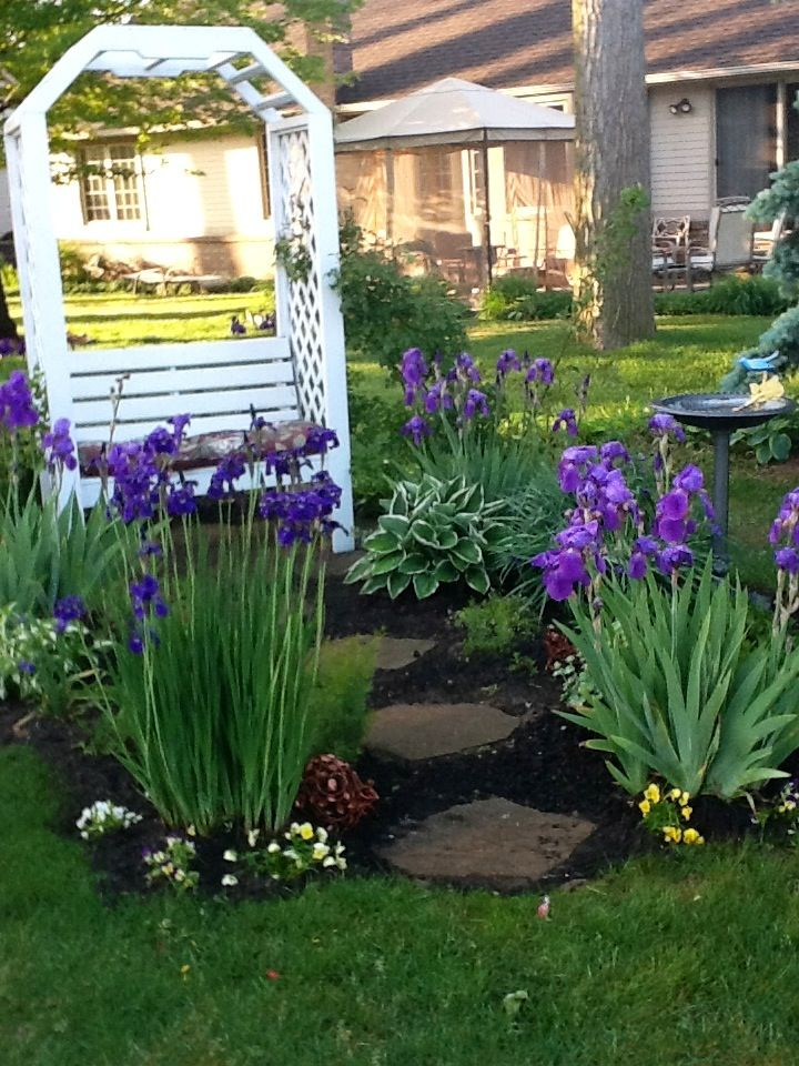 Pin By Mary Becker On Gardening Garden Landscape Design Front Yard Landscaping Design Iris Flowers Garden