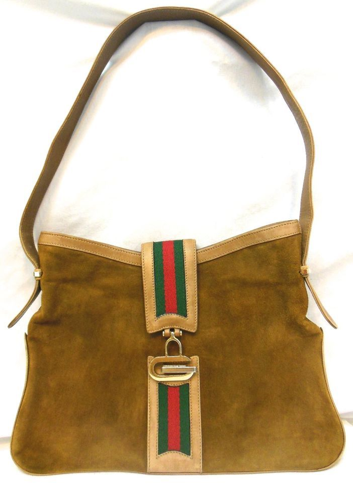 Vintage 70s Gucci Brown Suede Handbag Leather Purse Red Green Stripes Gold G