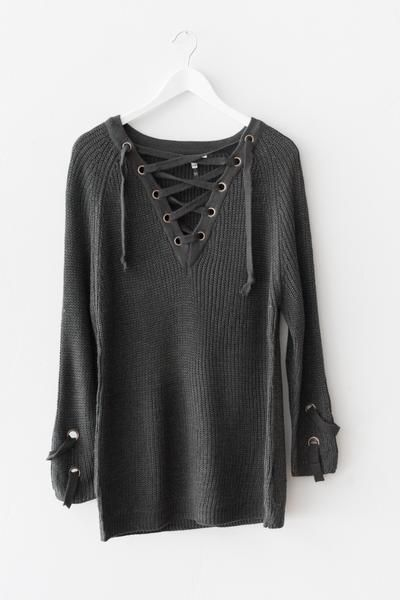 bf5d0853d6 Chunky knit sweater tunic Lace-up front Long sleeves with criss-cross strap  side detailing Slightly loose fit Size S M measures approx.
