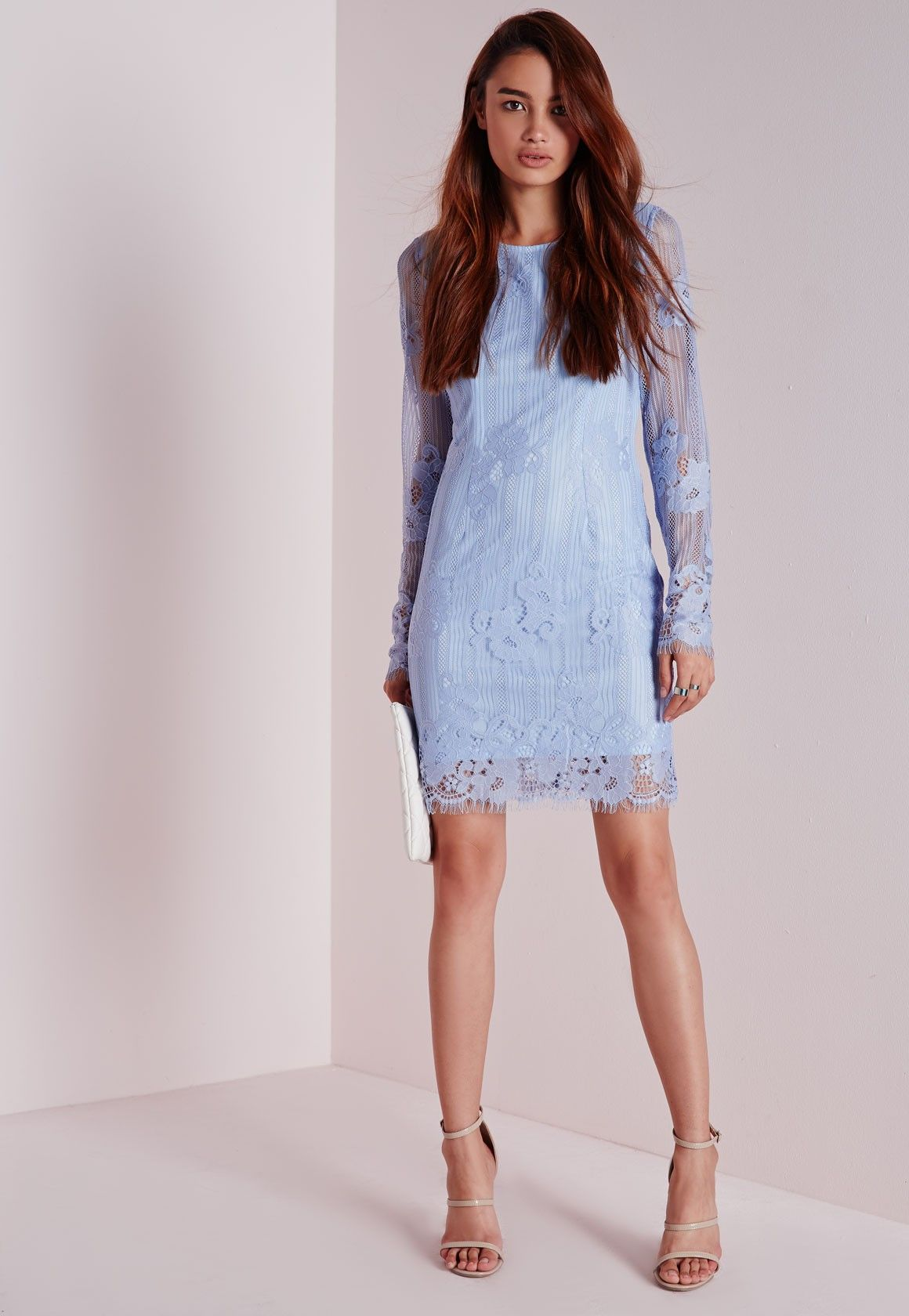 Missguided lace long sleeve bodycon dress powder blue austin and