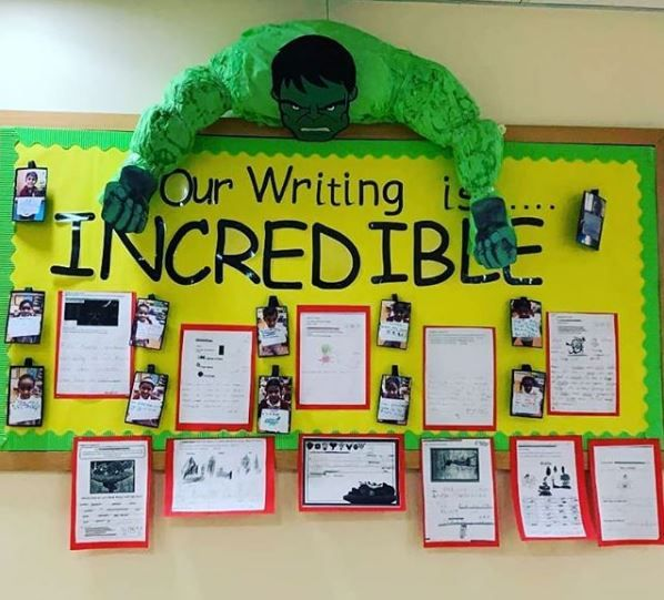 """The Incredible Hulk Classroom Display, """"Our Writing Is"""