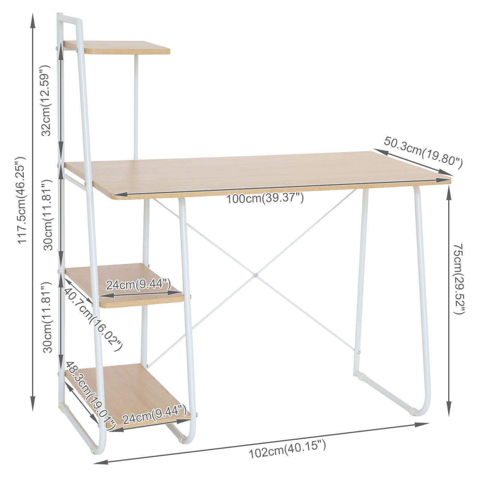 Details About Office Computer Desk 4 Tier Storage Shelf Bookcase