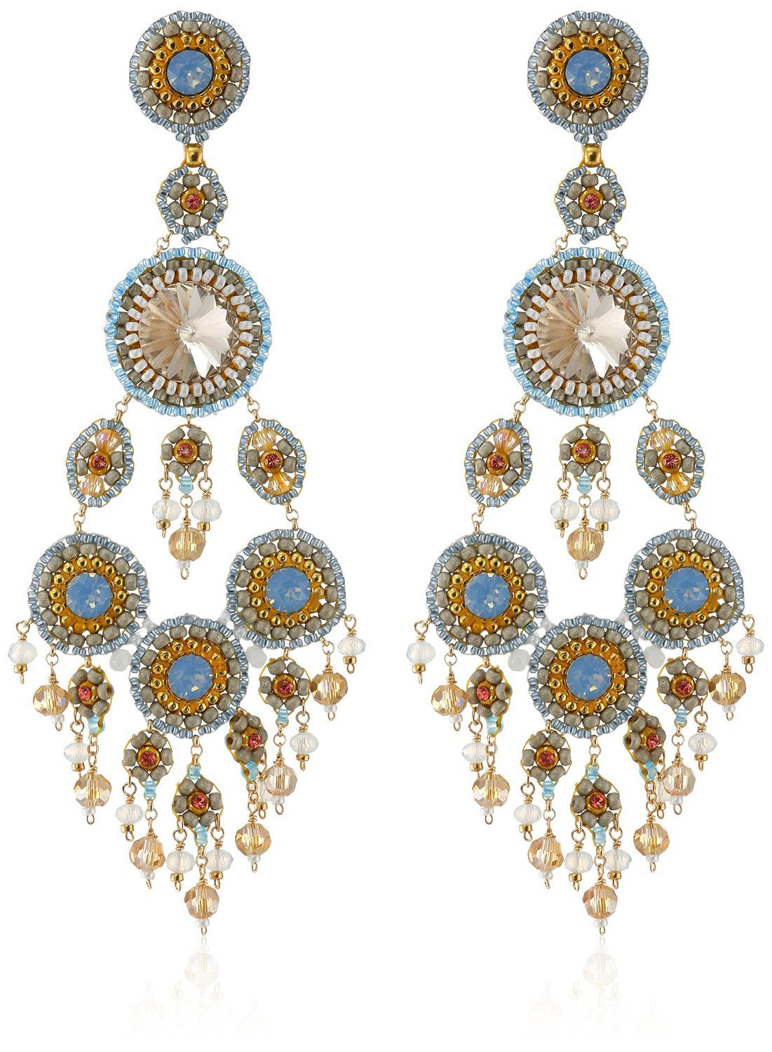 c07ed0d1e Amazon.com: Miguel Ases Created Topaz, Quartz, Opalite, and Swarovski Large  Chandelier Drop Earrings: Jewelry