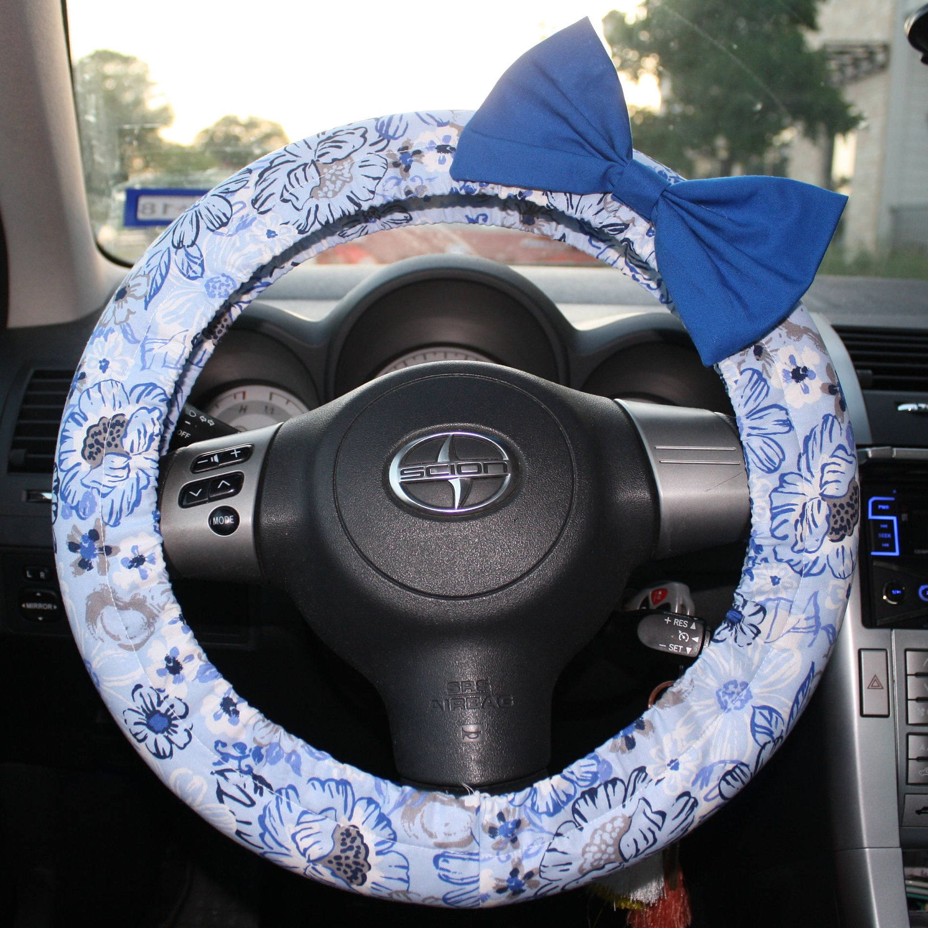 Navy And Royal Blue Floral Steering Wheel Cover With Coordinating Teal Bow  Pin Pin  Cute