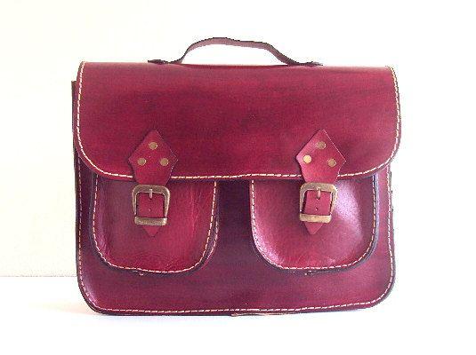 Red Leather Laptop Bag with pockets ,Briefcase ,Messenger Bag ,Shoulder Bag ,Satchel ,for men ,for women ,unisex ,mothers day gift