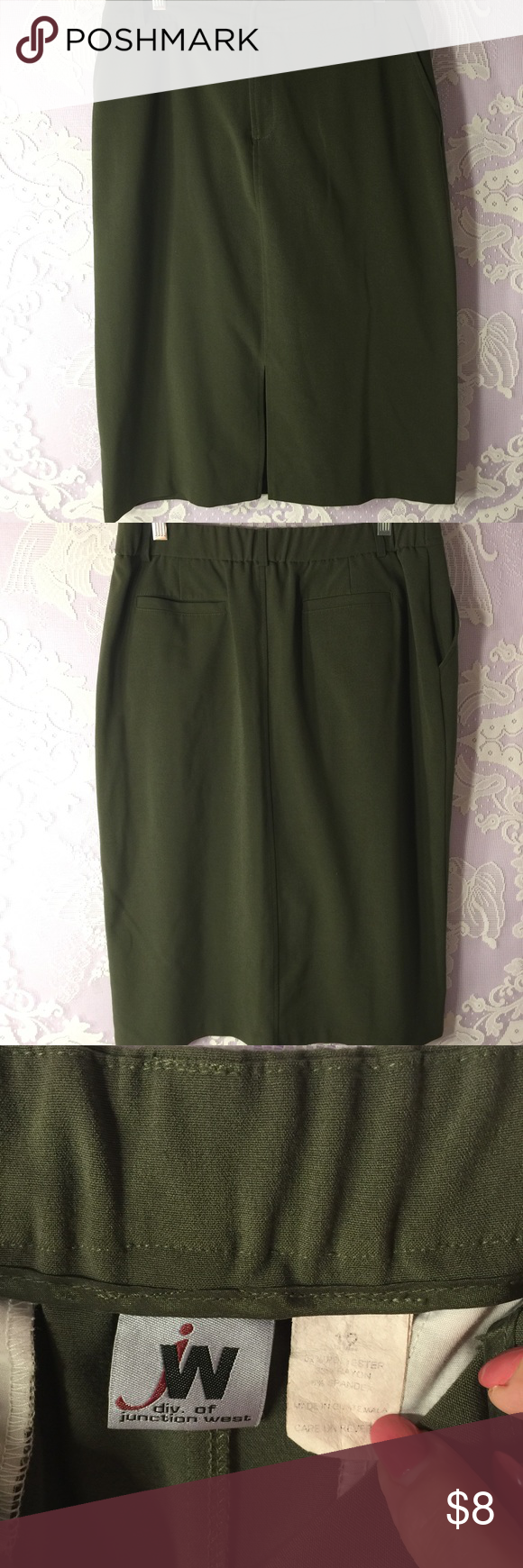 Straight Army Green Skirt with Slit in front Thick durable fabric Skirts