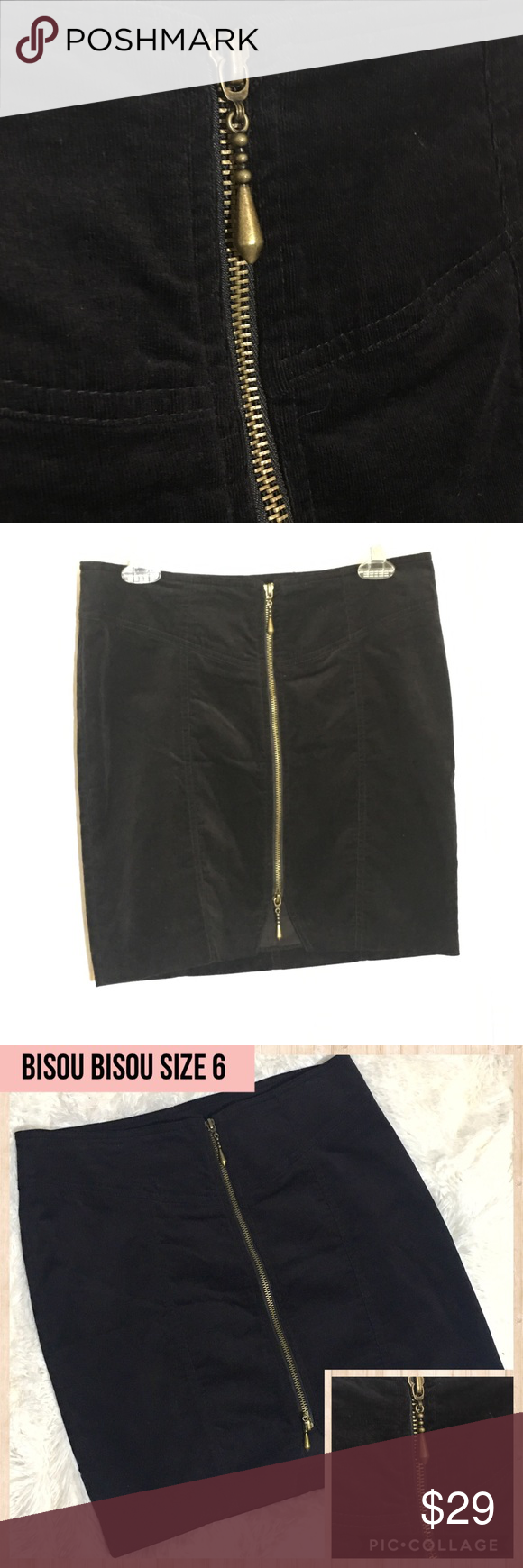 1253307465 Bisou Bisou Black Corduroy ZIP Front Mini Skirt 6 ****Bisou Bisou Mini Skirt****  •Black •Zips up front with gold/bronze zipper •Features small slit opening  ...