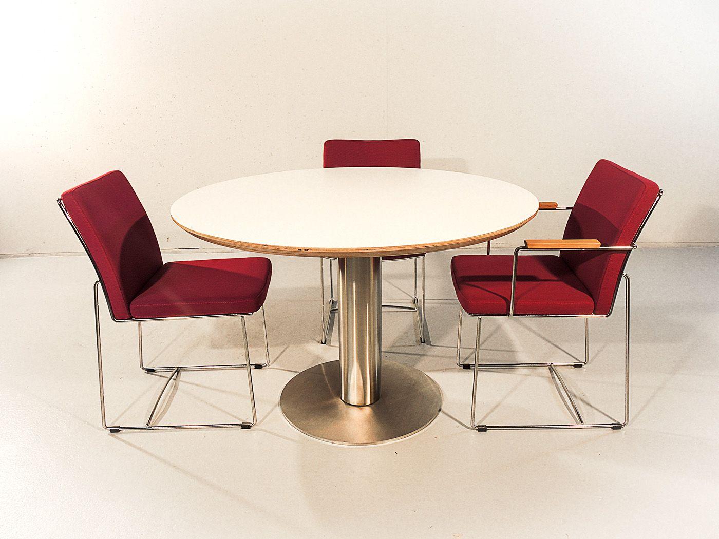 Orvieto ronde tafel met wit blad tafel modern