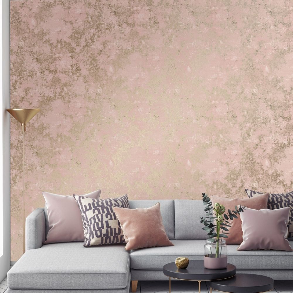 Geneva Metallic Wallpaper Pink Gold Living Room Decor