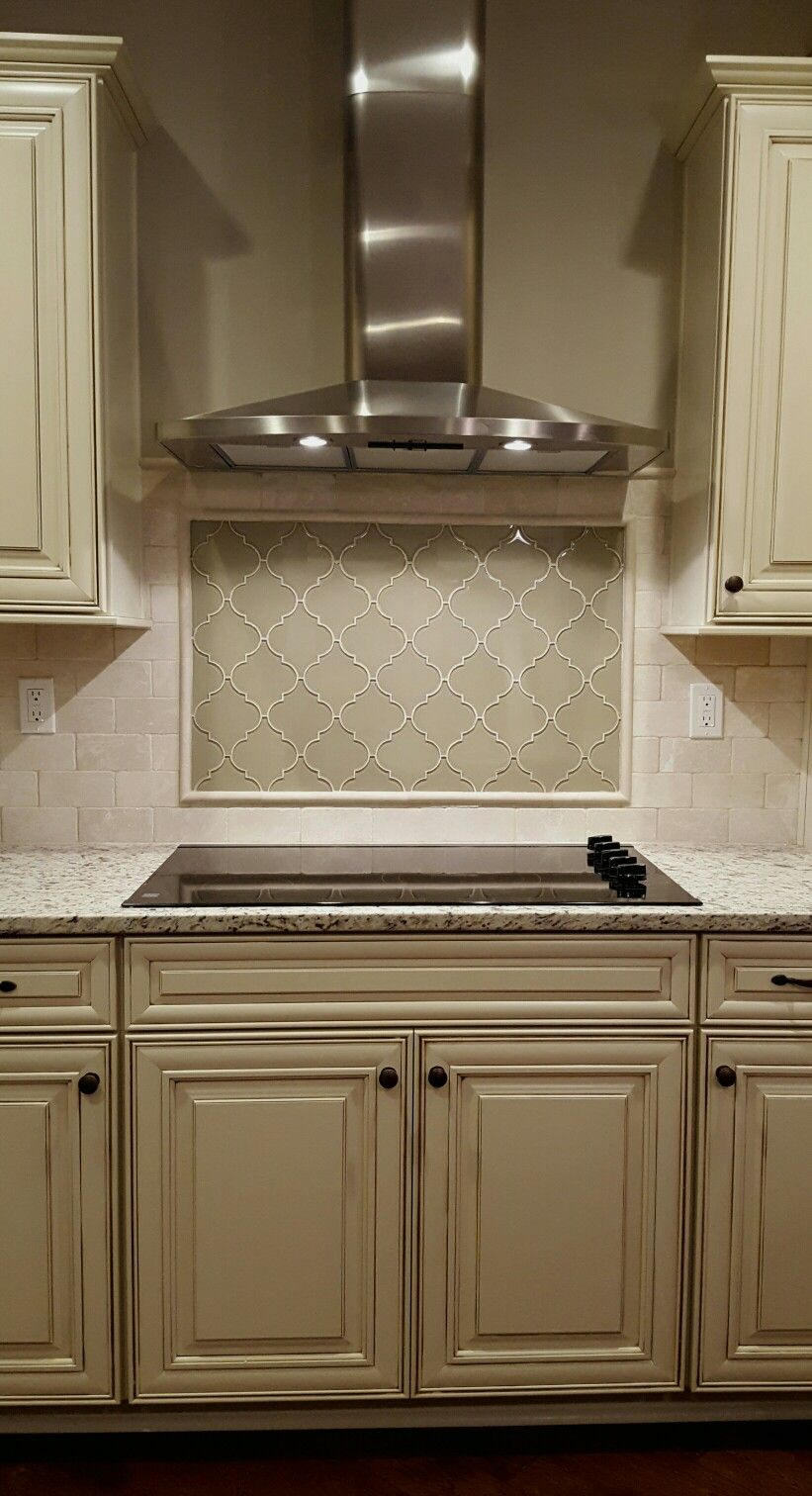 Picture Frame Arebesque Tile Backsplash Under Chimney Oven
